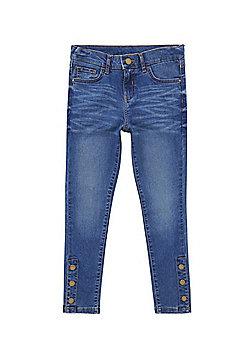 F&F Press Stud Ankle Skinny Jeans - Blue