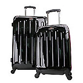 Swiss Case 4-Wheel 2Pc Suitcase Set, Black & Pink