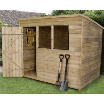8 x 6 Rock Pressure Treated Overlap Wooden Pent Shed 8ft x 6ft (2.44m x 1.83m)