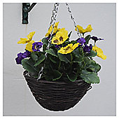 Artificial Purple and Yellow Pansy Hanging Basket