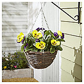 Foliage Artificial Purple and Yellow Pansy Hanging Basket