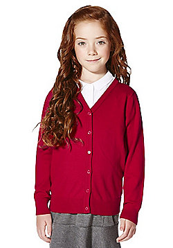 F&F School Girls Ribbed Cardigan with As New Technology - Red