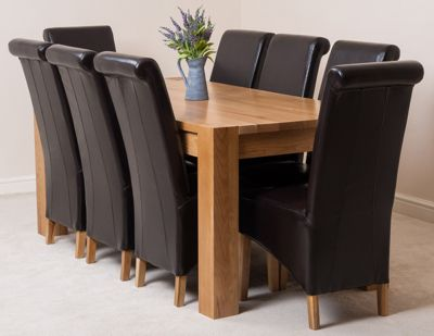 Kuba Chunky Solid Oak 180 cm Dining Table with 8 Brown Montana Leather Chairs