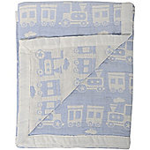 Silver Cloud Love Colour Jacquard Muslin Blanket (Blue Train)