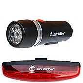 Black Widow UltraBright Front and Nightflare Rear Light Set. (Front and Rear are Both 5 LEDs)