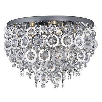 NOVA - 5 LIGHT CEILING FLUSH, CHROME WITH CHROME ACRYLICS RINGS & CLEAR ACRYLIC BALLS INSERTS