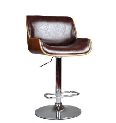 Adjustable Bentwood Bar Stool-Brown Faux Leather