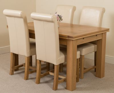 Richmond Solid Oak Extending 140 - 220 cm Dining Table with 4 Ivory Washington Leather Dining Chairs