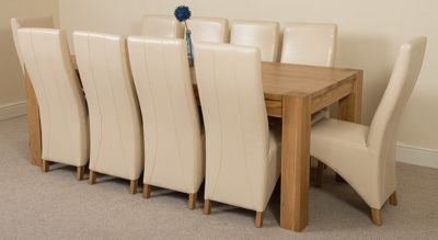 Kuba Chunky Solid Oak 220 cm with 10 Ivory Lola Leather Chairs