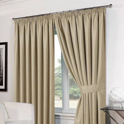 Dreamscene Pair Basket Weave Pencil Pleat Curtains, Beige - 66