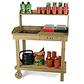 Wooden Potting Table with Wheels