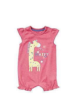 F&F Giraffe Cap Sleeve Romper - Pink
