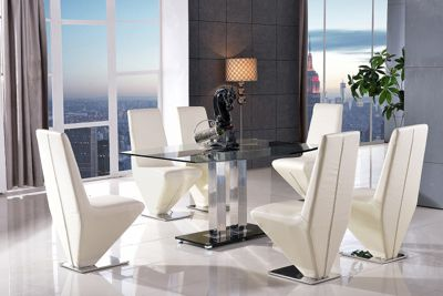 Roma Black Glass and Stainless Steel Frame 150 cm Dining Table with 6 Ivory Rita Chairs