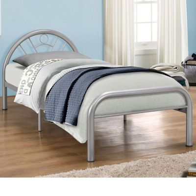 Happy Beds Solo Metal Low Foot End Bed with Orthopaedic Mattress - Silver - 3ft Single