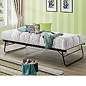 Happy Beds Trundle Black Metal Guest Bed Orthopaedic Mattress 3ft Single