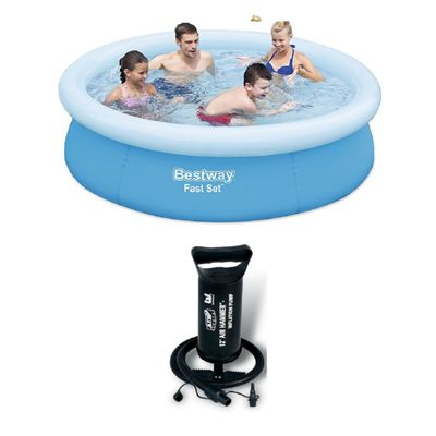 Bestway 8 Ft Fast Set Pool With Hand Pump Bundle