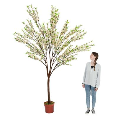 Homescapes Blossom Tree with Cream Silk Flowers, 9 Feet