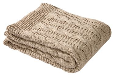 EHC Large Chunky Hand Knitted Cotton Throw, Linen