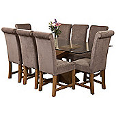 Valencia Large Oak 200cm Modern Glass Dining Set Table & 8 Grey Fabric Chairs