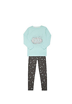F&F Dream In Glitter Slogan Pyjamas - Mint