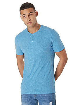 F&F Grandad Collar T-Shirt with As New Technology - Blue