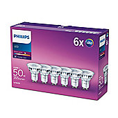 6 Pack Philips LED Glass 4.6 - 50w GU10 Spot Light Bulb A+ 355lm - Warm White