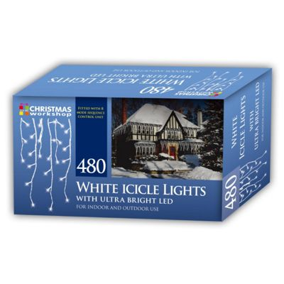 Christmas Workshop 480 White LED Icicle Lights