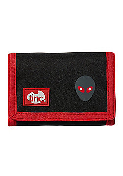 Tinc Alien design Wallet/Purse with velcro fastening and zip coin pocket - Black/Red