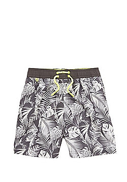 F&F Leaf Print Swim Shorts - Grey