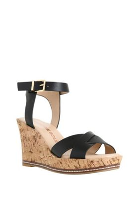 F&F Sensitive Sole Cork Effect Wedges Black Adult 3