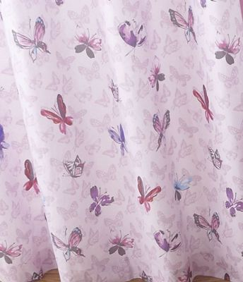 Catherine Lansfield Kids Glamour Princess Pink Curtains   66x72 Inches  (168x183cm)