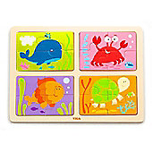 Viga Sea Life 4 In 1 Wooden Jigsaw Puzzle