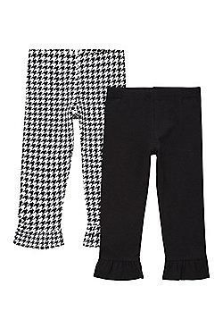 F&F 2 Pack of Frill Hem Leggings - Black & White