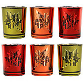 Set of 6 Autumnal Red, Orange & Yellow Glass Tea Light Candle Holders