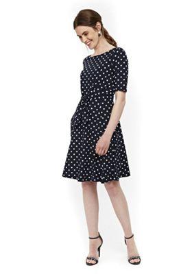 Wallis Polka Dot Tie Front Dress Navy 16