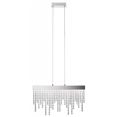 Modern LED Pendant Light with Strings of Clear Crystal Beads