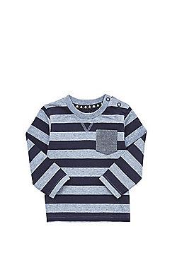 F&F Striped Long Sleeve T-Shirt - Blue