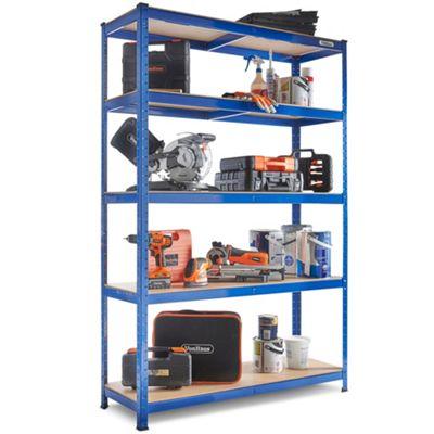 VonHaus - Extra Wide Heavy Duty Steel & MDF Boltless 5 Tier Racking Shelf or Workbench - Massive 1325Kg Capacity: