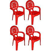 Resol Childrens Garden Plastic Chair - Red - (Pack of 4 chairs)