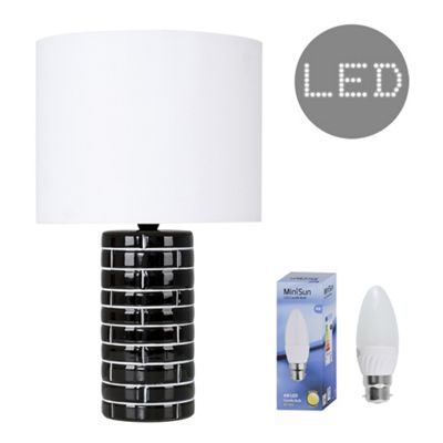 Hallett 40cm Tiled Effect LED Table Lamp - Black & White