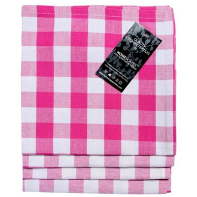 Homescapes Pink Block Check Cotton Fabric 4 Napkins Set