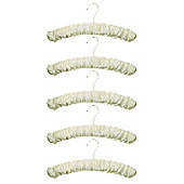 Russel Set of 5 Padded Satin Hangers, Cream