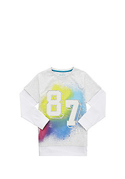 F&F Mesh Trim Mock Layer Long Sleeve T-Shirt - Grey & Multi