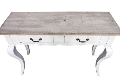 Provence Rustic Top Medium 2 Drawer Console Antique White Finish