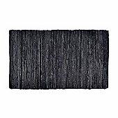 Homescapes Denver Leather Woven Rug Black, 120 x 180 cm