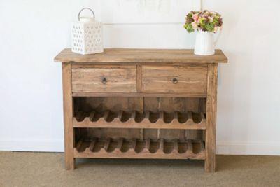 Rustic Reclaimed Teak Wine Rack Cabinet