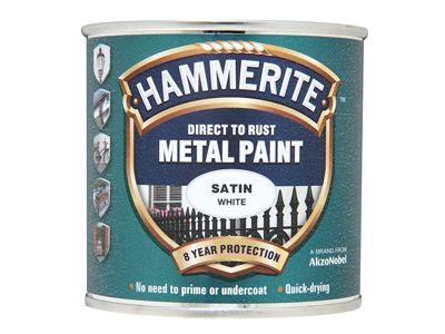 Hammerite Direct to Rust Satin Finish Metal Paint White 250ml