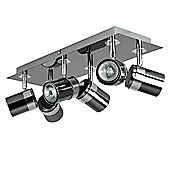 Rosie 6 Way Rectangular Plate Spotlight, Black Chrome & Chrome