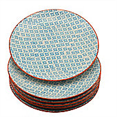 Nicola Spring Patterned Dinner Plates - 255mm (10 Inches) - Blue / Orange Print Design - Box Of 6