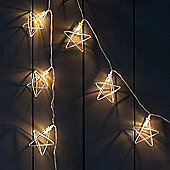 Battery Silver Geometric Star LED Fairy Lights